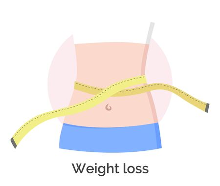 Weight loss icon. Woman waist and measuring tape. Healthy lifestyle and beneficiary dieting for health. Fitness results and positive effect of waistline of person. Food control and training vector