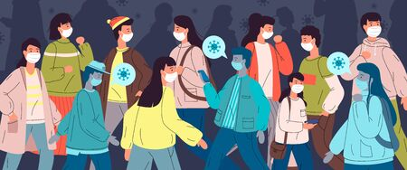 Coronavirus quarantine. Group of people wearing face medical masks to prevent disease protecting from virus, flu, air pollution, contaminated air, world pollution. Infected persons among healthy crowd Ilustración de vector