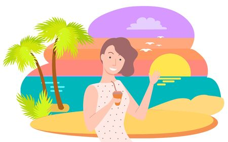 Pretty brunette woman with beverage and straw in hand drinking and smiling. Island with palms and sunset on background vector illustration flat style