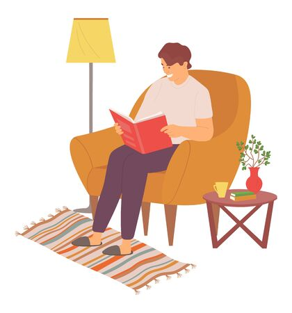 Man sitting in comfortable armchair vector, person with book at home, male wearing slippers, lamp and table with vase and flourishing plant, carpet