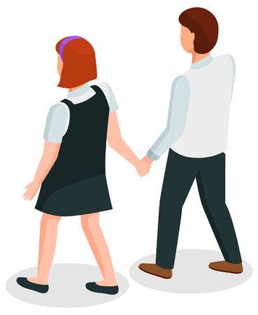Students walking together vector, isolated boy and girl wearing uniform flat style character. Schoolboy and schoolgirl holding hands, teenagers high school