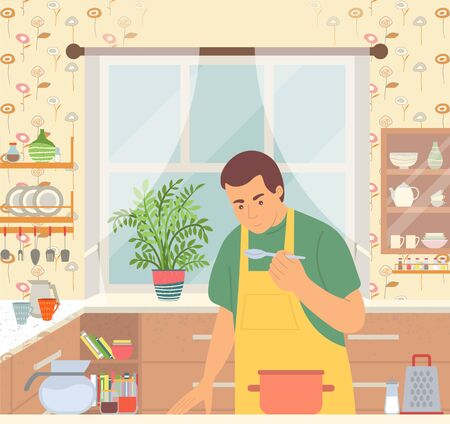 Man cooking meal in pan. Person tasting what he cook. Kitchen with utensil like kettle and cup, plate and spoon, fork and knife. Vector illustration in flat style
