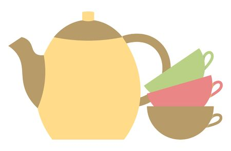 Teapot with three mugs isolated on white background. Utensil for kitchen, drinking tea and coffee. Green, pink and brown teacup. Vector illustration in flat style