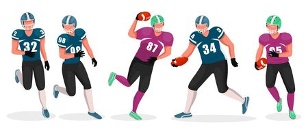Collection of people playing gridiron in teams. Competition between members. American football players involved in aggressive kind of sports. Running athletes and tossing ball, vector in flat style