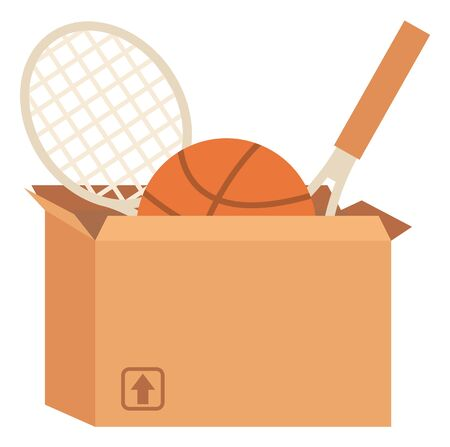 Sport equipment in box, garage sale or declutter vector. Tennis or badminton rackets and basketball, sporting items selling, second hand goods, trade Illusztráció