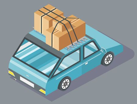 Passenger car with cardboard boxes tied together with black rope on top. Blue vehicle with carton containers. Transportation and moving house vector illustration Vektorgrafik
