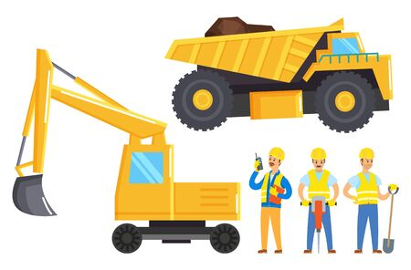 People working in mining industry. Three men, miners stand near lorry with raw and bulldozer. Yellow industrial vehicles used to transport earth or digging quarry. Vector illustration in flat style