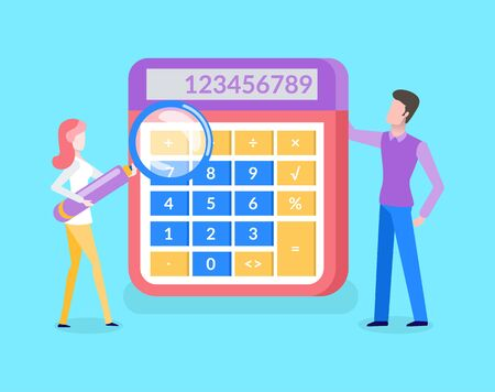 People standing near calculator, woman holding magnifier vector. Accountant doing electronic counting, portrait view. Numerator with buttons and numerals Illusztráció