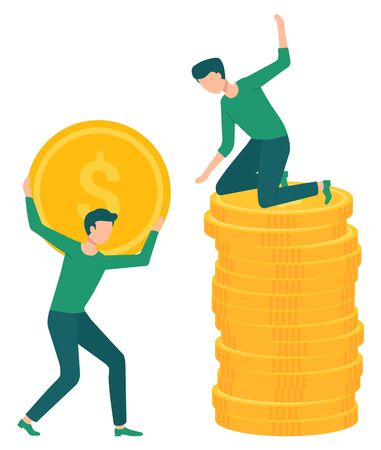 Man on stack of golden coins. Guy holding metal piece of money with dollar sign. Earnings and savings concept. Investment growth, currency vector illustration