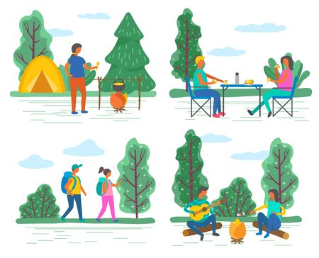 Camping and hiking, walking and campfire, outdoor activity vector. Hikers with backpacks, eating at table and playing guitar, bonfire and tents. people sitting on logs in forest illustration