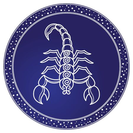 Scorpio zodiac sign decorative design for horoscope. Astrology symbol, isolated icon with scorpion in circle. November and october as ruling months of astrological element. Vector in flat style