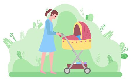 Woman walking with kid laying in perambulator bassinet vector, mother and newborn baby. Happy motherhood female relaxing in park with bushes and greenery