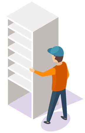 Porter in uniform moving empty white bookshelf. Wooden bookcase, modern cabinet or plastic cupboard. Living room piece of furniture 3D vector illustration Vecteurs