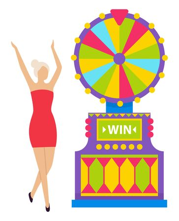 Casino gambling character vector, isolated woman wearing red dress standing by slot machine. Gambler happy to win money, winning personage raising hands