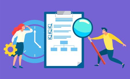 Woman and man working on data analysis and research vector, business workers with tools. Magnifying glass and cogwheel, clipboard and clock deadline symbol
