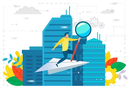 Man in city businessman vector, male holding magnifying glass flat style cityscape and clouds. Ambitions and development, skyscrapers and buildings