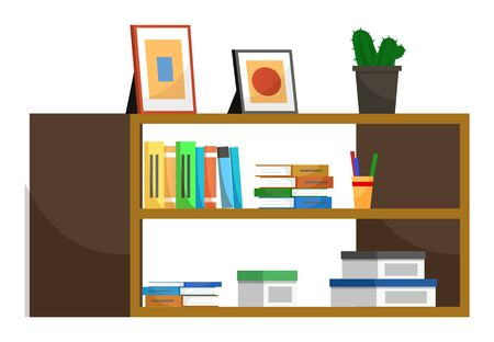 Shelf with books and files, isolated interior design item. Wall stall with pictures in frame and cactus decor for home or office. Living or working space improvement, vector in flat style illustration