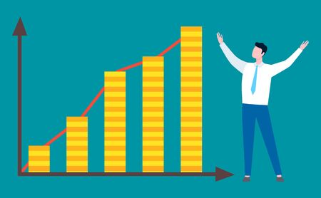 Man standing and rising hands to top of graphs and charts, cartoon person, buys and sales. Vector brokers collaboration, person graph on coordinate system