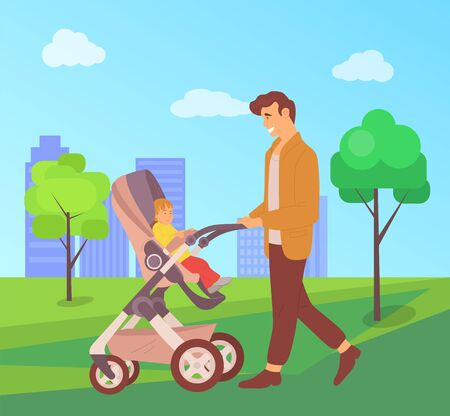 Daddy spending time with child vector, father and offspring sitting in perambulator, city walk, town with park and greenery trees, parenting and care, concept for Father day Vettoriali