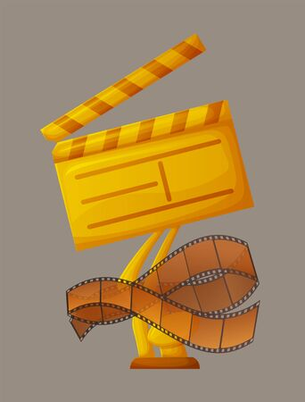 Tape with recorded materials for movies presentation vector, prize for best film, clapboard made of gold, filmmaking stripes on board symbolic reward