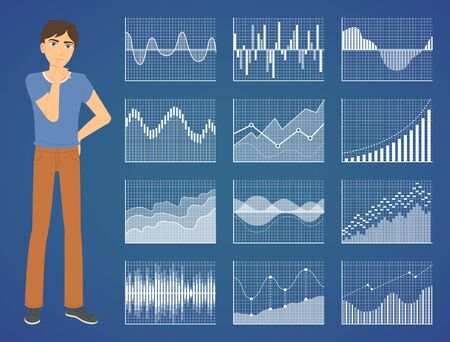 Thinking man and graph icons, diagram report, financial presentation. Male counting or brainstorming, profit symbol, chart technology, sale vector. Business data analysis. Flat cartoon