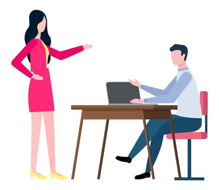 Brokers collaboration isolated cartoon people. Training at work controlling supervisor. Vector male sitting on chair at desk and boss supervising employer