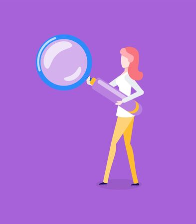 Woman with magnifying glass in hands isolated cartoon character. Female searching new ideas, inspection and research concept. Girl investigate something