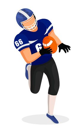American football professional player holding ball and running. Male character playing aggressive game. Competition or training of sportsman. Isolated personage enjoying hobby, vector in flat