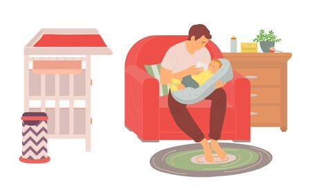 Father caring with baby, dad feeding infant with bottle, portrait view of man sitting with newborn on sofa, wooden bedside and changing table vector Vettoriali