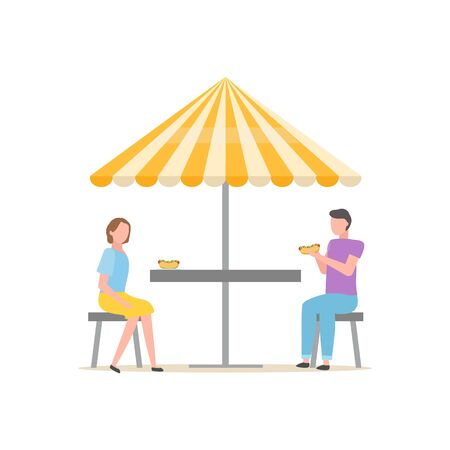 Street food vector, people sitting under umbrella eating hot dogs isolated man and woman enjoying meal under shade. Summertime quick lunch of couple Ilustração