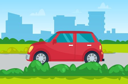 Car moving by road, skyscraper view, transportation equipment in city. Red automobile going near buildings in downtown, auto in town, green plant vector