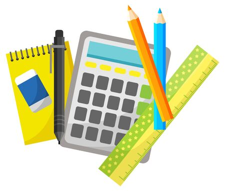Calculating device vector, isolated notebook and pencil with pen. Mathematics lesson, eraser and textbook, pad for writing solutions on lessons set. Back to school concept. Flat cartoon