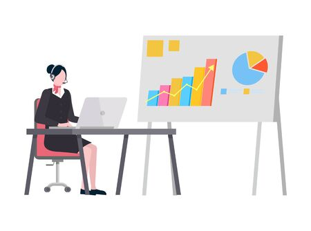 Representation on board vector, graphics and visualized data on whiteboard. Secretary working on computer in office, lady wearing headphones by laptop
