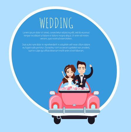 Wedding template card, smiling newlyweds with rising hands standing in holiday car with flowers, groom embracing bride in festive auto, invitation vector