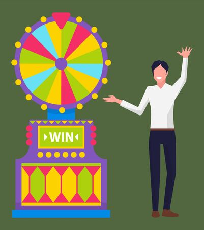 Gambling businessman wearing formal clothes vector, isolated man dancing by slot machine with segments. Spinning fortune wheel, roulette with segments Ilustração