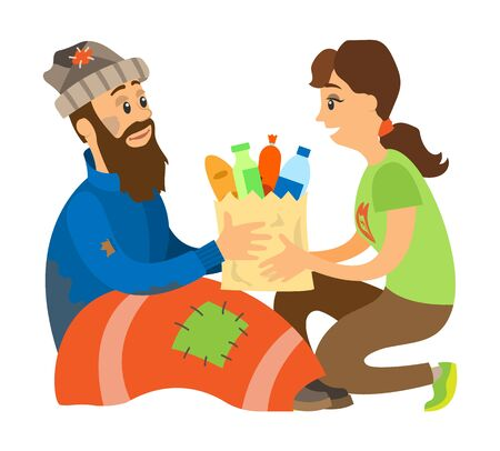 Smiling woman volunteer giving products in bag to beggar man, charity to homeless, sitting vagrant in clothes and blanket with patches, sharing vector
