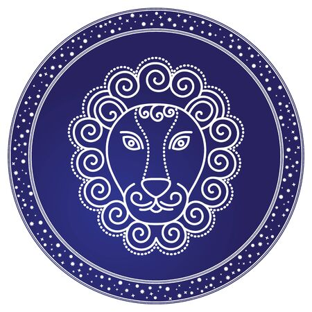 Leo sign of horoscope, design of astrological element. Nemean lion image in sketchy manner. Western zodiac symbol with fixed modality for people born in july and august. Vector in flat style