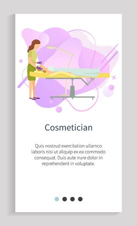 Cosmetician procedures in spa salon vector, lady treating face of client professional working with facial problems, beautification of female. Website or app slider template, landing page flat style