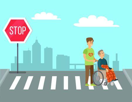 Volunteer person helps to old woman, charity volunteering. Vector man helping granny in wheelchair unable to walk to cross street on crosswalk or pedestrian crossing Illustration