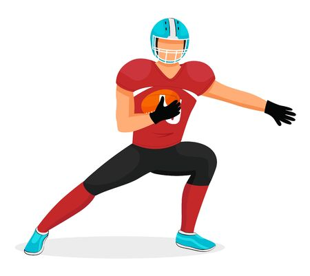 American football player stretching before game. Isolated sportsman holding rugby ball. Gridiron hobby or competition. Footballer playing aggressive traditional sports of usa. Vector in flat style Vecteurs
