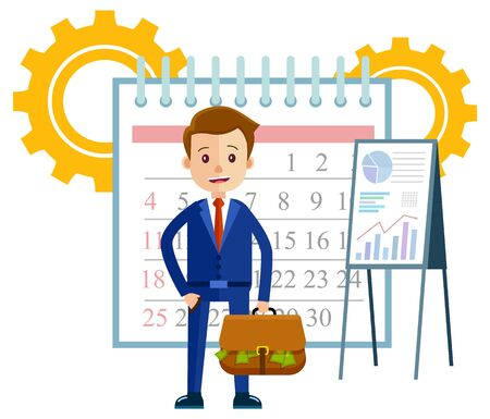 Businessman with case vector, flat style character with cogwheels and calendar. Organization of tasks and working projects, presentation on whiteboard