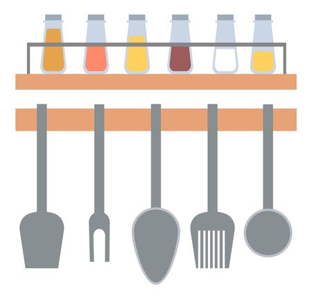 Kitchenware hanging on wall, spoon and fork, spatula cooking metal equipments, set of seasoning in glass, spice rack on shelf, silverware sign vector