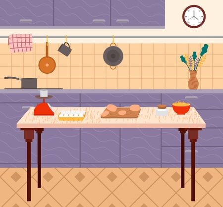 Cooking meat and egg ingredients in plate. Interior view of kitchen with cutting sausages on table, pan on stove, dishes and clock symbol on wall. Furniture in purple color with hanging towel vector