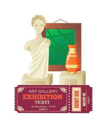 Art gallery exhibition vector, masterpieces cultural heritage of mankind, sculpture and vases art, abstract painting in frame. Vintage ticket with date 矢量图像