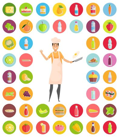 Man with frying pan vector, hobby male with cheese and juice, bottle of water and apple, broccoli and vegetables, lime and milk banana lemon burger Illustration