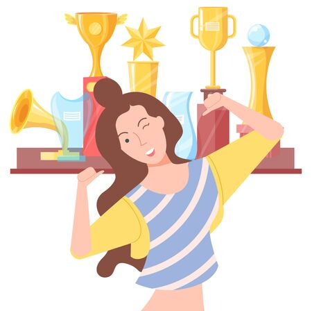 Smiling woman standing near golden regards, girl pose. Happy winner female, lady in casual clothes winking, lucky person, win symbols, positive vector