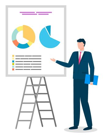 Male character wearing formal clothes presenting whiteboard with data and information in visual form. Report of partner or employee on done tasks. Board with diagram and explanation, vector in flat