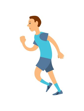 Jogger in uniform running on long distance isolated cartoon person. Vector man in blue t-shirt , shorts and socks run marathon, jogging man in flat style Çizim