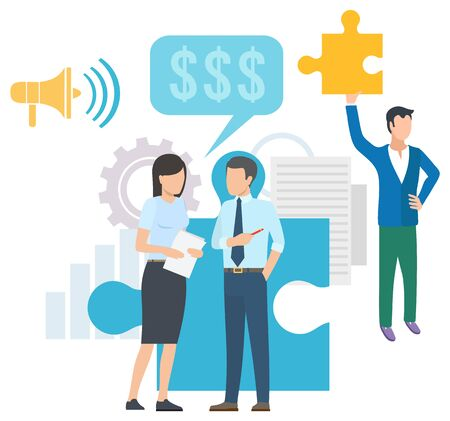 Man and woman collaboration, teamwork strategy, colleagues discussing. Finance and loudspeaker, paper and setting icon, marketing develop, marketing vector