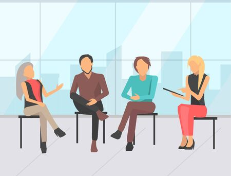 Job interview in company office vector, man and woman asking question. Person reading list from clipboard, workers answering. Conversation interaction Illustration